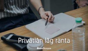 Privatlån låg ränta